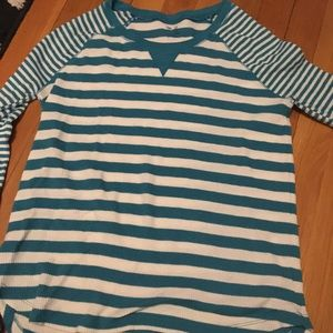 Green and white striped thermal long sleeve tee